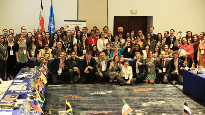 Family photo of the representatives attending the First Meeting of the Signatory Countries of the Escazú Agreement