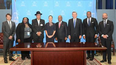 Family photo of the countries' authorities that signed or ratified the Escazú Agreement on Thursday 26 September 2019, at UN headquarters in New York.