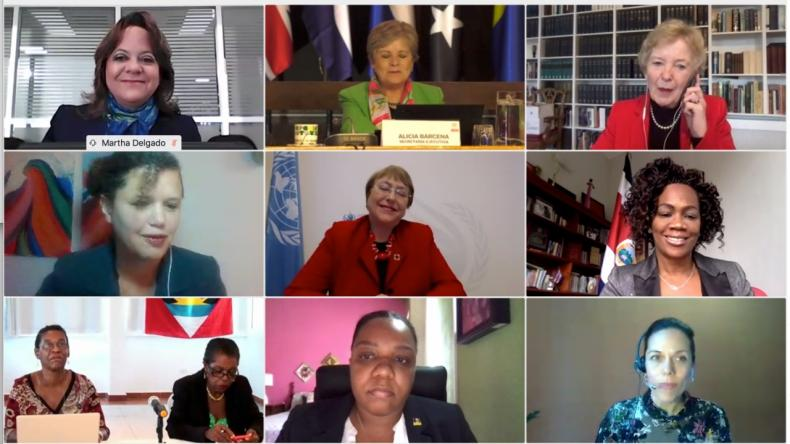 Foto grupal de evento virtual sobre el Día de los Derechos Humanos, en el marco de la Segunda Reunión de Países Signatarios del Acuerdo de Escazú
